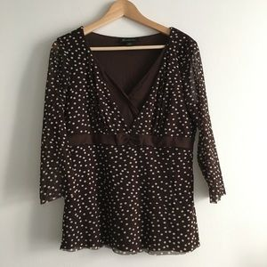 International Concept Polka Dots Blouse Top Lined